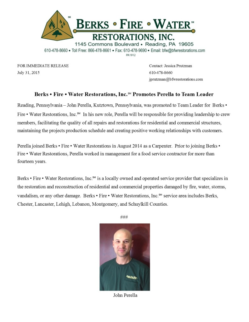 Berks • Fire • Water Restorations, Inc.℠ Promotes Perella to Team Leader